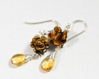 Tiger Eye Corved Rose Earrings Citrine drop earrings Multi stone Earrings Gemstone Earrings