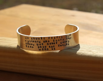 Anne of Green Gables - We should regret our mistakes and learn from them, but... -  Metal Stamped Cuff Bracelet - LM Montgomery