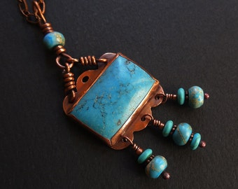 Turquoise Howlite Dangle Pendant Copper & Aqua Necklace