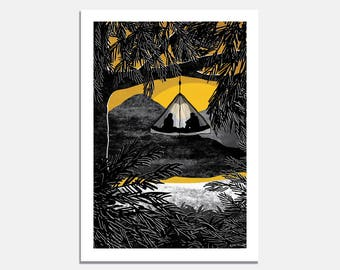 Room with a View Art Print / wall art / tree tent / camping / wilderness / black and white / yellow / illustrated / sunset / art / nature