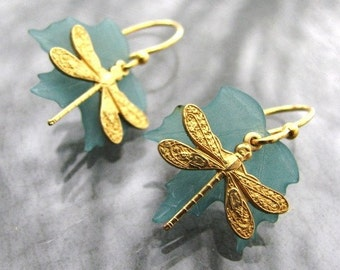 Dainty Dragonfly leaf earrings
