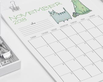 2018 Printable Wall Calendar // Cats