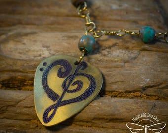 Music Clef Heart Pendant in Brass