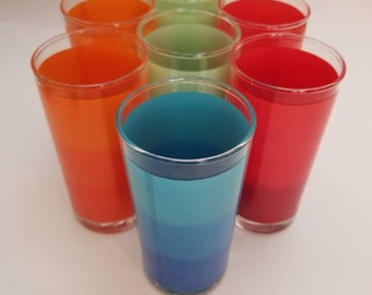 Vintage Bartlett Collins colorful ombre highball glasses, set of seven