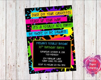 80's Paint Splatter Rainbow Birthday Party Invitation (Digital Download)