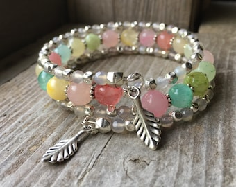 Poppin' Pastels Multi Strand Gemstone Memory Wire Wrap Bracelet With Leaf Charms