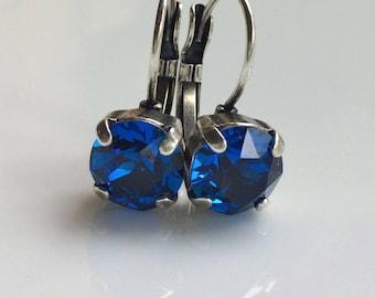 Sapphire Blue Rhinestone Earrings / Rhinestone Prong Set Earrings / Antique Look / Blue Swarovski Rhinestones / Antiqued Silver Leverbacks