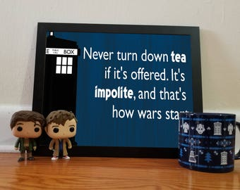 Doctor Who Tea Quotes - Blue - 11x14