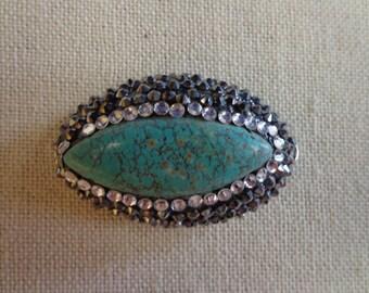 Handplace Rhinestone Turquoise Pendant, Handplace Rhinestone Turquoise Brooch