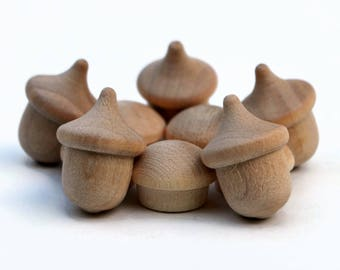 Craft supply - Wooden acorns & wooden mushrooms - Set of 5 button mushrooms + 5 wood acorns Autumn Waldorf Nature Table Wood craft Australia