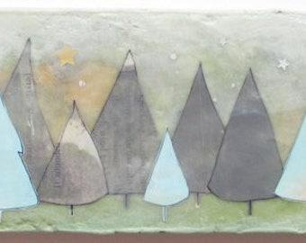 Pine Tree Illustration, nursery room art, encaustic collage art, tree painting, beautiful forest scene