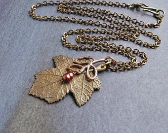 Leaf  pendant necklace,   leaf charm necklace, copper charm,  leaf jewelry, autumn jewelry, leaf charm pendant, long chain necklace