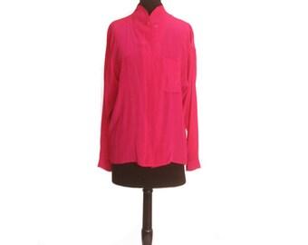 Vintage 1990s Hot Pink Lion Anne Klein Silk Women's Blouse size 10