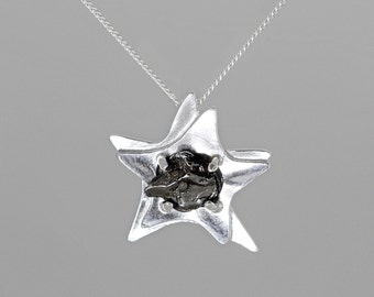 Star Space Necklace with Real Meteorite - Sterling Silver