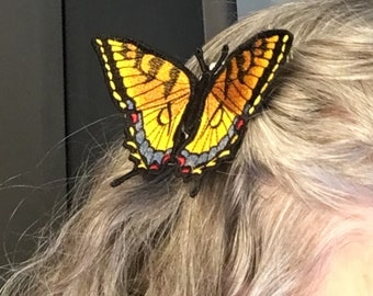 Realistic Embroidered Tiger Swallowtail Butterfly Hair Comb