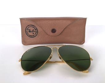 Vintage 70s Ray Ban Aviator Sunglasses, With Case, Gold Frame, Green Lens, Brown Case, Metal, Glass, Plastic, Bausch & Lomb, Logos on Lens