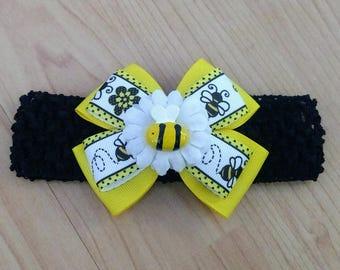 Baby Headband, Bumblebee Headband, Summer Headband, Baby Girl Headband, Baby Hair Accessory, Bumblebee Hairbow, Baby Hairbow, Girls Hairbow