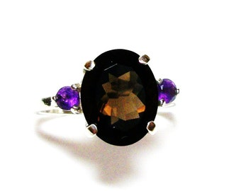 "Smokey quartz, quartz amethyst, anniversary, 3 stone ring, brown purple,  s 7 1/2 ""Smouldering"""