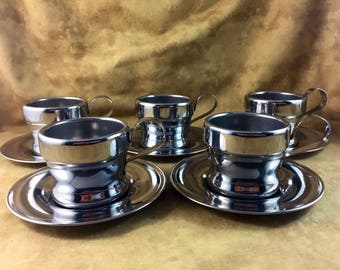 Expresso Cup Set - Set of Five La Termica Jolly Stainless Steel Cups - Made by Rivadossi of Italy