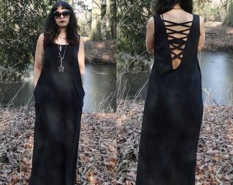 Nancy black sleeveless maxi dress   Organic & eco-friendly
