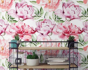 Flower Removable Wallpaper Large Peonies Peony Pattern Regular Wall Mural Botanical Floral 152