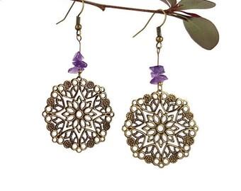 Earrings handmade Amethyst jewelry handmade Bronze earrings dangle Genuine amethyst earrings Purple amethyst Bronze jewelry reiki yoga Mayi