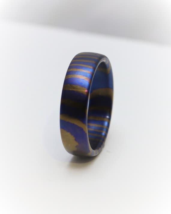 Titanium Damascus ring Timascus colourful titanium wedding