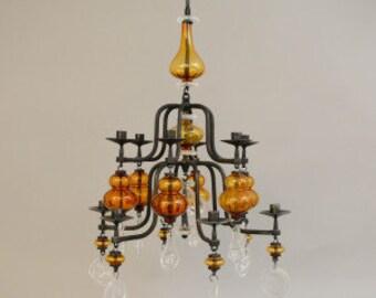 Erik Hoglund - 12 arm chandelier for Boda of Sweden, c.1960's