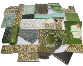 Green mixed variety antique tile set