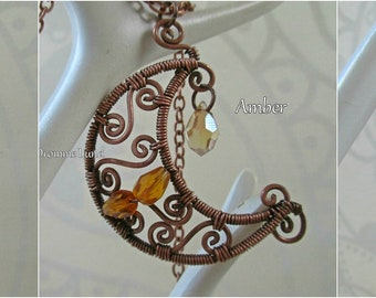 Celtic Moon Mini Amulet ~~ 3 Varieties To Choose From ~ Wirework Crescent Necklace