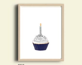 Regalo de cumpleaños para imprimir, cartel de cumpleaños para imprimir, descarga inmediata Magdalena moderna impresión cumpleaños Magdalena cocina pared decoración cupcake arte de la pared