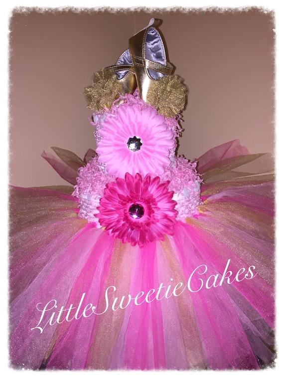 3 Tier Pink And Gold Tutu Diaper Cake Princess Diaper Cake