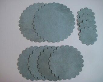 Scallop Circles - Sage Ultrasuede
