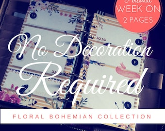 Floral Bohemian Printable Designer WEEK on TWO PAGES (Personal Size) Planner Inserts + bonus