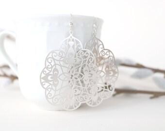 Silver filigree earrings, huge laser cut earrings, moroccan earrings, silver earrings, silver filigrees, trendy jewelry, statement earrings
