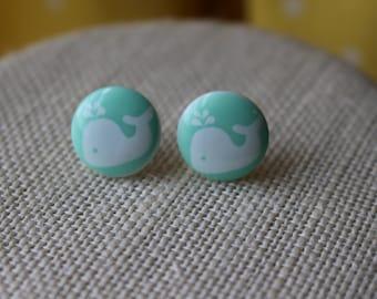 Mint Whale Stud Earrings