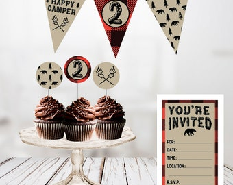 Camping Red Flannel DIY Digital Download Printable Party