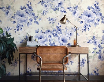 Floral Wallpaper, Blue Flower Wallpaper, Large Wall Mural, Floral Home Décor, Floral Design, Wall Decal, Removable Wallpaper B0011