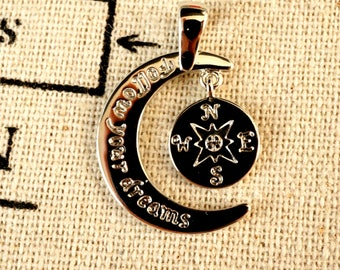 Follow your dreams silver charm jewellery supplies C239