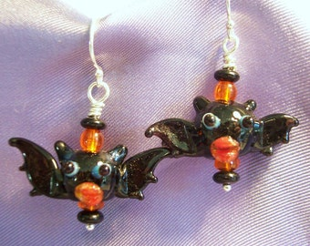 Pucker Up Bat Lampwork Glass Earrings