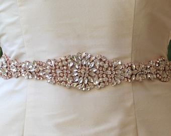 Rose Gold Sash, Blush Bridal Sash, Crystal Wedding Belt, Wedding Dress Belt, Bridal Accessory, Ceinture de Mariée  AMOUR RG