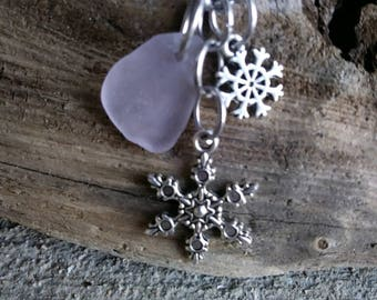 Frosted pink Sea glass necklace /sterling silver necklace/ snowflakes charm/sea glass jewelry /gift for her