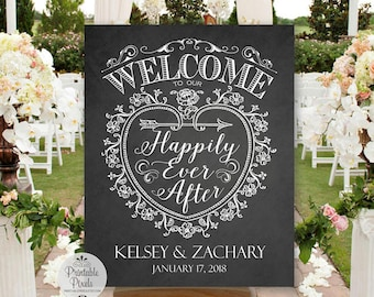 Chalkboard Printable Welcome To Our Happily Ever After Wedding Sign, Personalized with Names and Date (#WEL3C)