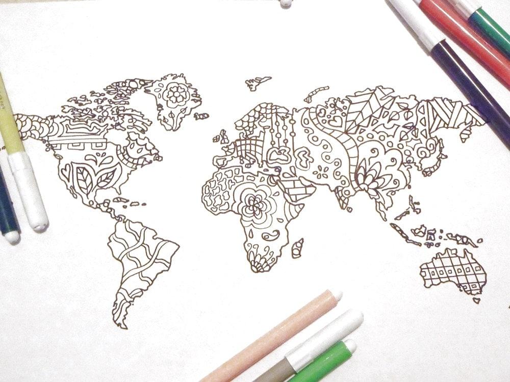 Favoloso mondo cartina da colorare adulti bambini pagina scuola PT38