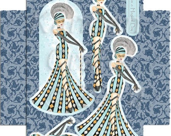 Woman dress stripes turquoise_KBYJPCT003