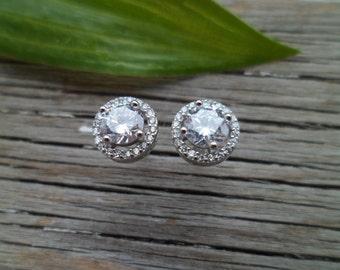 925 Sterling silver earrings. Crystal CZ Diamond Stud Earrings For Women Anti-allergic Earrings Jewelry