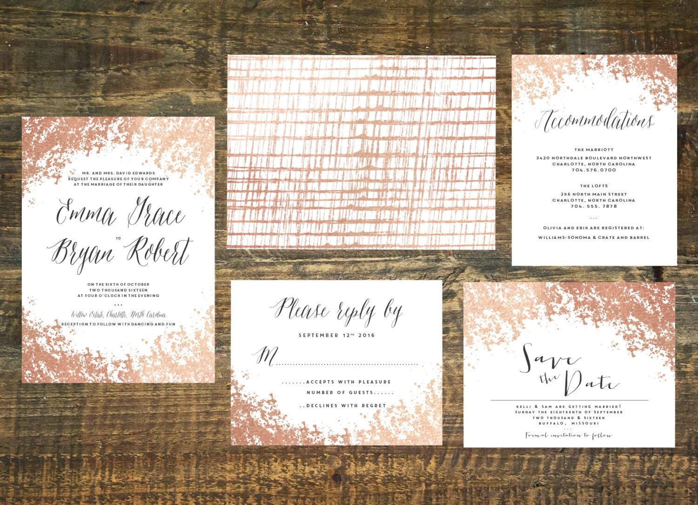 Printable Rose Gold Foil Wedding Invitation Suite Wedding