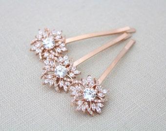Rose gold hair pin, Bridal hair pins, Rose Gold Wedding hair pins, Bridal hair clips, Crystal hair pins, Hair accessories, Rose Gold clips