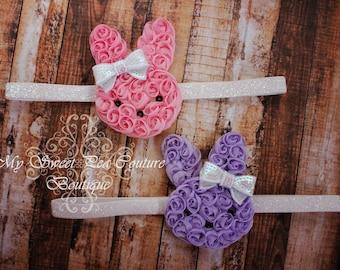 Easter Bunny Headband- Pink Rosette Bunny- Purple Rosette Bunny- Easter Headband- Newborn Headban- Baby Headband- Photo Prop
