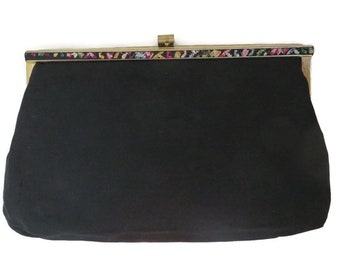 Black Satin Purse, 1950s Evening Bag, Embroidered Edge Clutch, Goldtone Chain Drop-in Handle